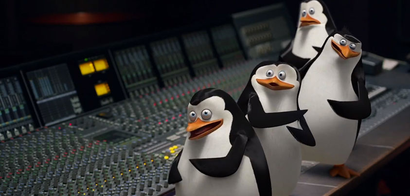 The penguins of madagascar visit Noisematch Studios in Miami, FL | Recording studio