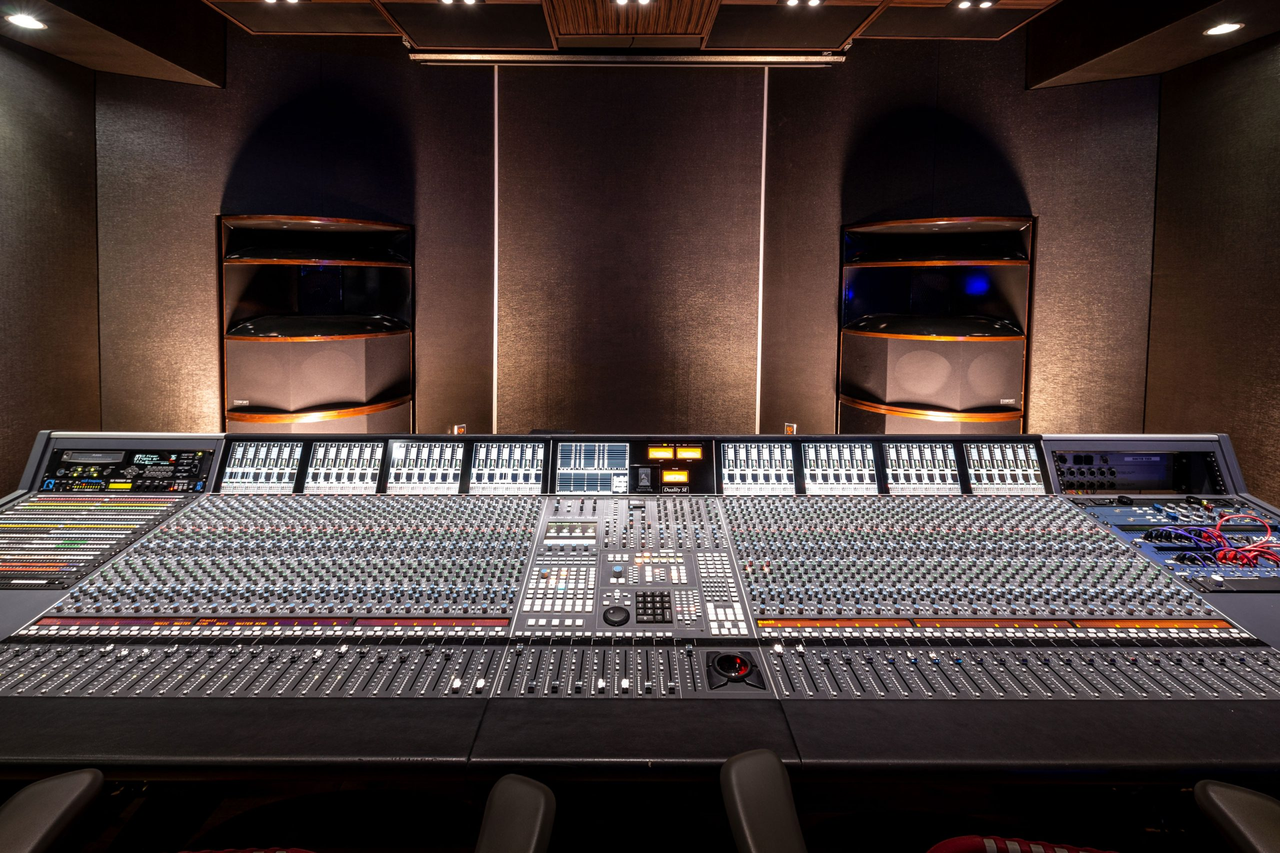 The SSL Duality & Ocean Way HR2's inside the control room at Noisematch Studios in Miami, FL.
